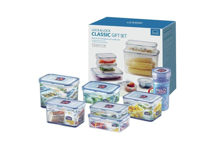 8pc Lock & Lock Classic Food Storage Plastic Containers Lunch Box Starter Set BL