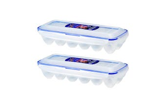 2x Lock & Lock 12pc Egg Storage Holder Tray 32x12cm Airtight Plastic Container
