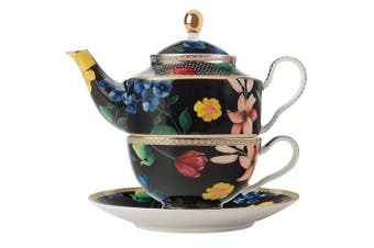 Maxwell & Williams Teas & C's 380ml Tea Pot for One w  Infuser Cup Saucer Black