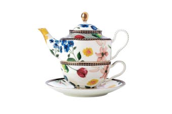 Maxwell & Williams Teas & C's 380ml Tea Pot for One w  Infuser Cup Saucer White