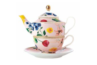 Maxwell & Williams Teas & C's 380ml Tea Pot for One w  Infuser Cup Saucer Rose