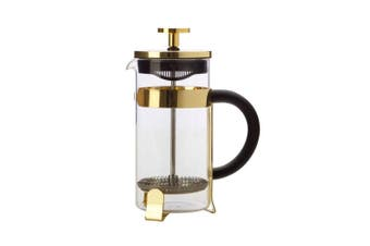 Maxwell & Williams Blend 350ml Coffee Plunger Press Glass Stainless Steel Gold
