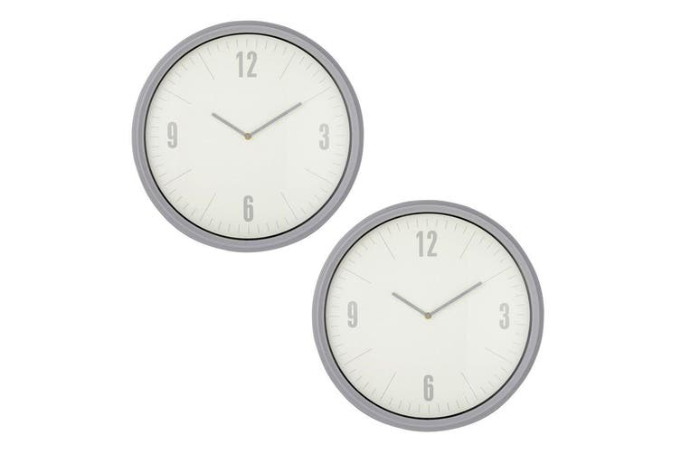 2x Emporium 50cm Sonny Wall Clock Home Office Wall Hanging Plastic Decor GRY WHT