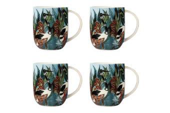 4x Maxwell & Williams Melanie Hava 440ml Porcelain Coffee Mug Cup Jabirus Blue