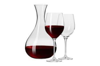 3pc Krosno Glass Harmony Collection Red White Wine 450ml Glasses 1.6L Carafe Set
