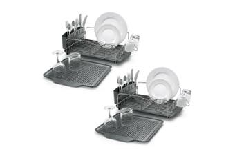 2x 4pc Polder Advantage Dish Cup Plates Drying Rack Holder Organiser w  Tray GRY