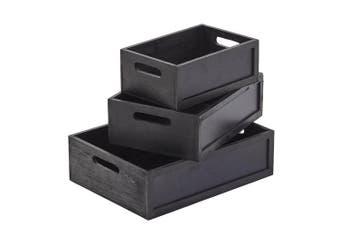 3pc Wooden Blackboard 28cm 34cm 40cm Storage Boxes Home Kitchen Black Fir Wood