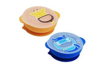 2pc Marcus & Marcus Suction Self Feeding Bowl w  Lid 4y+ Yellow Lola Blue Hippo