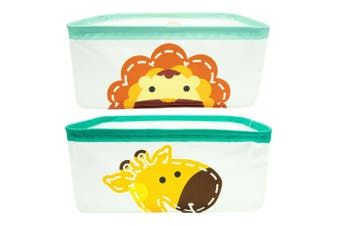2pc Marcus & Marcus Baby Kids Foldable Storage Basket Box w  Handles Lola Lion