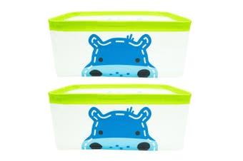 2x Marcus & Marcus Baby Kids Foldable Storage Basket w  Handles Lucas Hippo Blue