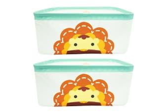 2PK Marcus & Marcus Foldable Storage Basket Organiser w  Handles Baby Kids Lion