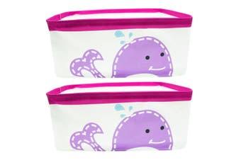 2PK Marcus & Marcus Baby Kids Foldable Storage Basket Organiser w  Handles Whale
