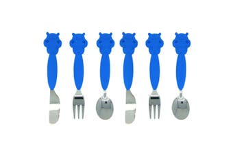 6pc Marcus & Marcus Cutlery Kids Spoon Fork Knife Stainless Steel 3y+ Blue Hippo