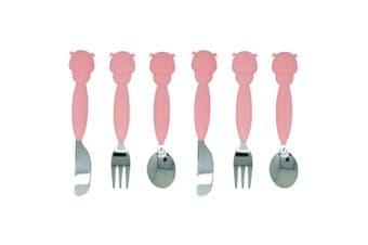 6pc Marcus & Marcus Cutlery Set Spoon Fork Knife Stainless Steel Kids 3y+ Pig PK