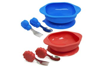 2PK Marcus & Marcus Toddler Mealtime Set w Bowl Fork Spoon Combo Lucas & Marcus