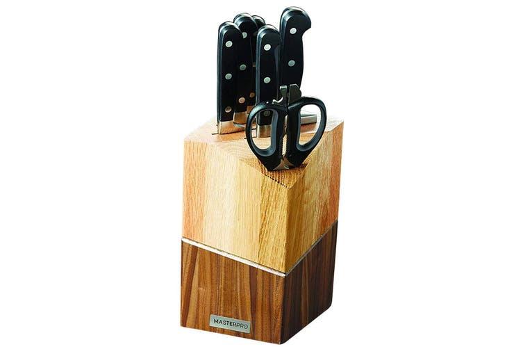 8pc MasterPro Wayland Knives German Steel Chef Scissors Knife Block Storage Set