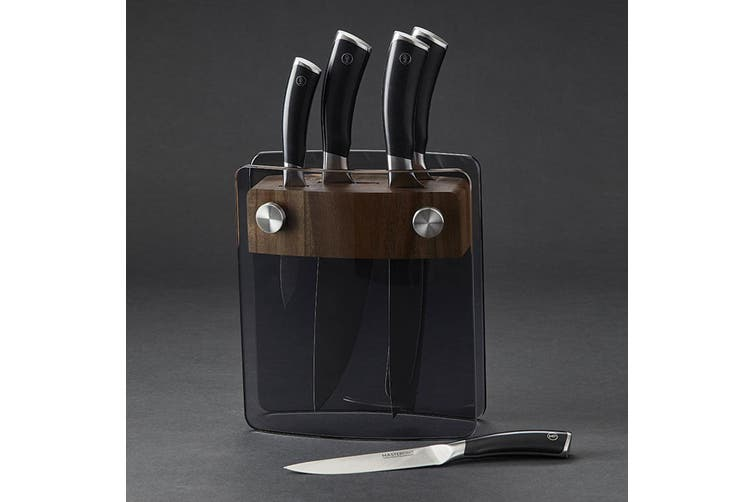 6pc MasterPro Getont Knives Stainless Steel Chef Cutlery Knife Block Storage Set