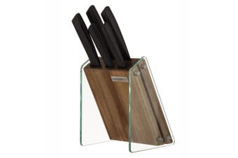 5pc MasterPro Onyx Stainless Steel Chef Bread Carving Knife w  Glass Wood Block