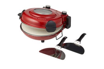 Master Pro Red Ultimate Electric Pizza Oven Ceramic Baking Stone Toaster Maker