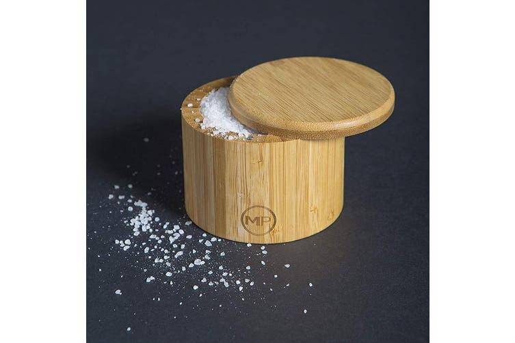 MasterPro 9x7cm Round Bamboo Wood Sugar Spices Salt Herbs Box Container w  Lid