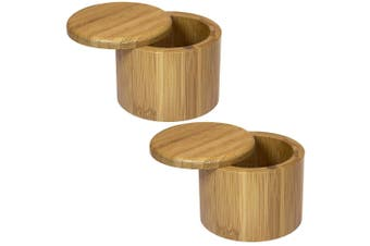 2PK MasterPro 9x7cm Round Bamboo Wood Sugar Spices Salt Box Container w  Lid