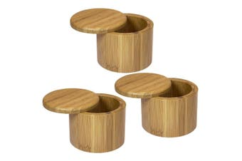 3PK MasterPro 9x7cm Round Bamboo Wood Sugar Spices Salt Box Container w  Lid