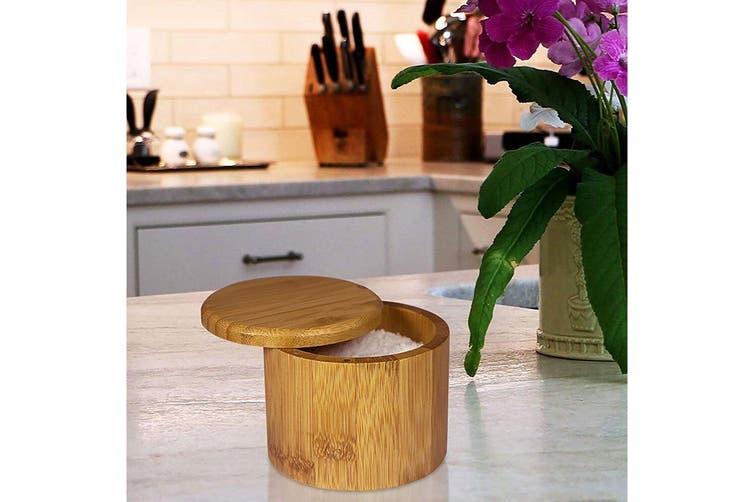 4PK MasterPro 9x7cm Round Bamboo Wood Sugar Spices Salt Box Container w  Lid