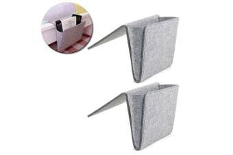 2PK Kikkerland Hanging Sofa Bedside Pocket Felt Storage Organiser Holder Grey