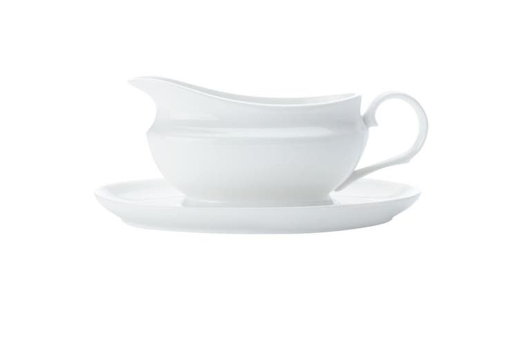 Maxwell & Williams White Basics Gravy Boat Set  w Saucer 550ml Sauce Serving Jug
