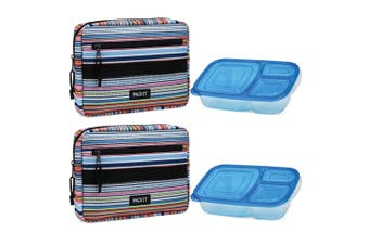 2PK Packit Freezable Lunch Bag w  Bento Box Food Safe Container BPA Free Storage