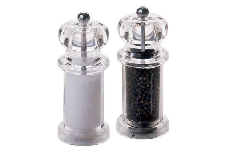 Maxwell & Williams Classic Salt and Pepper Mill Set 14cm Clear Acrylic Tableware