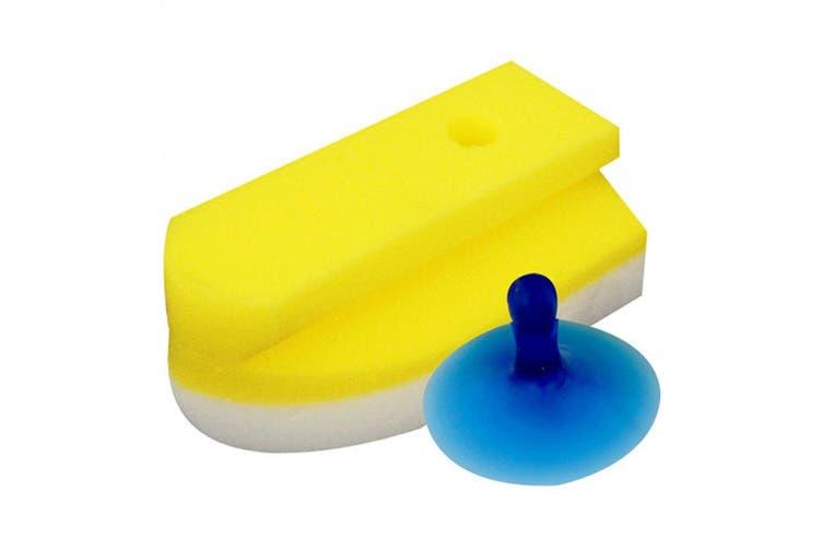White Magic Eco Eraser Sponge Cleaner w  Suction Hook for Bathroom Shower Yellow