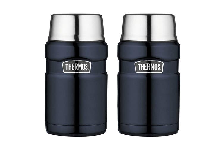 2PK Thermos 710ml Vacuum Insulated Stainless Steel King Food Jar Midnight Blue