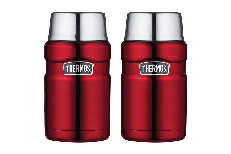2PK Thermos 710ml Vacuum Insulated Stainless Steel King Food Fruit Jar Flask Red