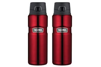2PK Thermos 710ml Vacuum Insulated Stainless Steel Flask Water Drink Bottle Red