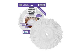 White Magic Microfibre Spin Mop Head Super Absorbent Cleaning Floor Cleaner WHT