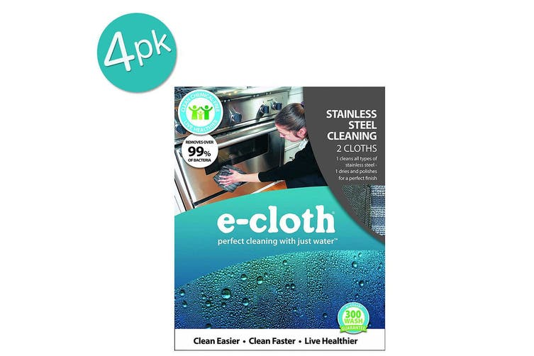 4 x 2pc E-Cloth Stainless Steel Washable Cleaning Cloths Duster Towel Polishing