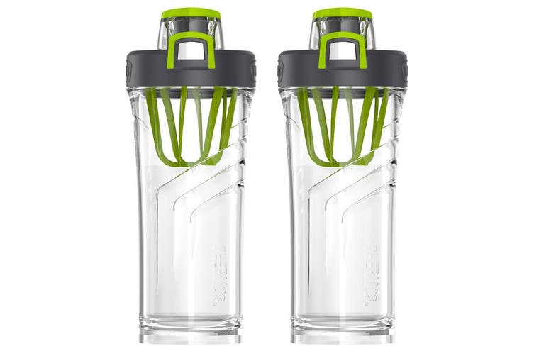 2PK Thermos 710ml Tritan Shaker Bottle Mixer Sports Gym Fitness Tumbler Clear