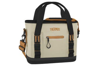 Thermos Trailsman 12 Can Cooler Tote Bag Travel Storage Container Cream Tan