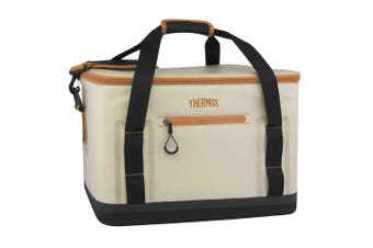 Thermos Trailsman 18 Can Cooler Tote Bag Travel Storage Container Cream Tan