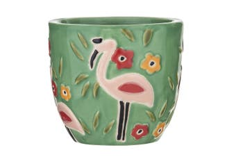 Bouffant & Broken Hearts 13cm Ceramic Artificial Plant Pot Home Decor Flamingo