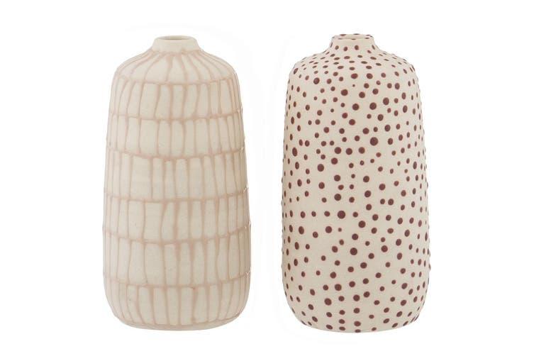 1pc Amalfi 15x7cm Ceramic Vase Home Decor Bamboo Lines or Dots Assorted Design