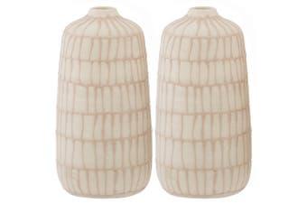 2x Amalfi 15x7cm Ceramic Vase Home Decor Bamboo Lines or Dots Assorted Design