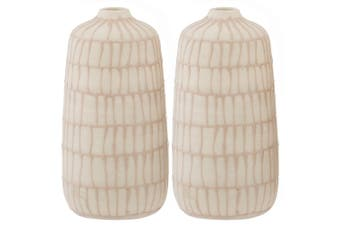 2x Amalfi 15x7cm Ceramic Vase Home Decor Bamboo Lines or Dots Assorted Design