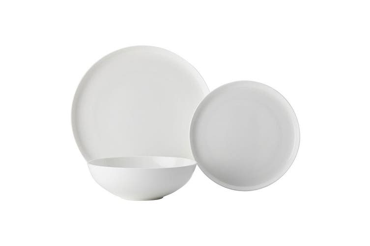 12pc Casa Domani Pearlesque Coupe Bone China Bowls Dinner Side Plates White Set