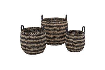 3pc Amalfi Pattaya Basket Set w  Handle Home Decor Laundry Storage Organiser