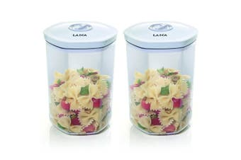 2PK Laica 2L Vacuum Seal Container Kitchen Food Storage Jar Plastic Canister WHT