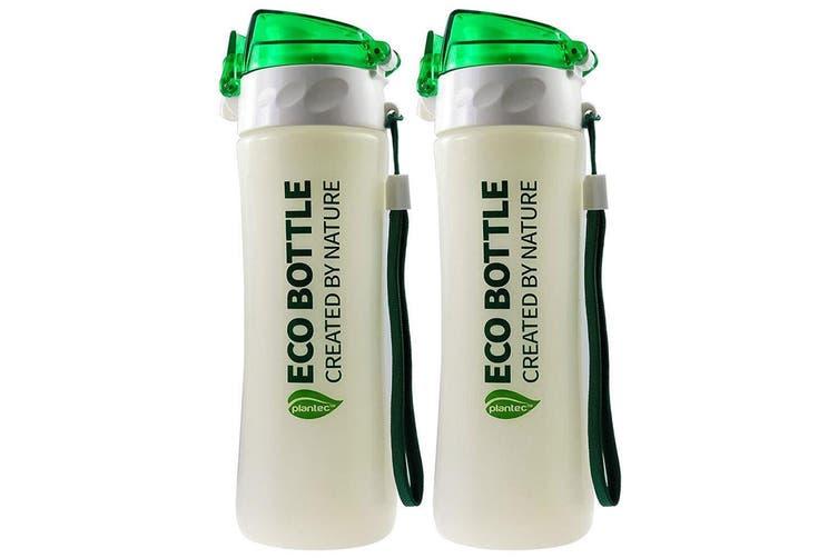 2PK Plantec 500ml Nature Corn PLA Eco Drink Bottle Recyclable BPA Plastic Free