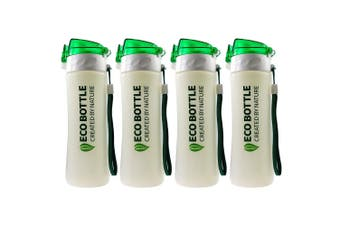 4PK Plantec 500ml Nature Corn PLA Eco Drink Bottle Recyclable BPA Plastic Free