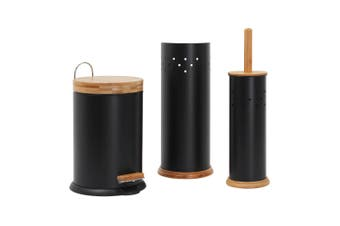 Eco Basics Bathroom Set w  3L Rubbish Bin Toilet Brush Toilet Roll Holder Black